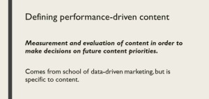 Definition of performance-driven content